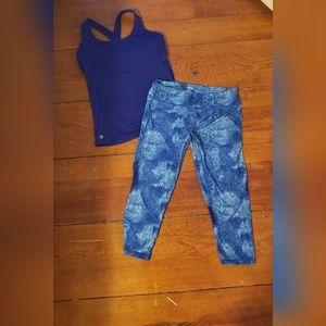Athleta blue workout top/ So brand yoga capri